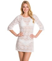 J.Valdi Medallion Crochet 3/4 Sleev Boatneck Cover Up Tunic