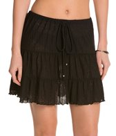 J.Valdi Poor Boy Rib Onionskin Tiered Cover Up Skirt