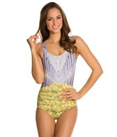 Kingdom & State Digital Coliseum Daffodil One Piece Swimsuit Scoop