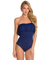 La Blanca Core Solid Ruffle Bandeau One Piece Swimsuit