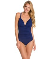 La Blanca Core Solid Cross Back Mio One Piece Swimsuit