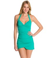 Anne Cole Color Blast Solid Twist Front Shirred Halter Tankini Top