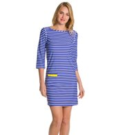 Cabana Life Sunburst Striped 3/4 Sleeve Swim Dress