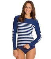 Cabana Life Cape Mod Striped Zip Back Rashguard