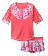 Cabana Life Girls' Coral Rashguard Set (5yrs-6X)