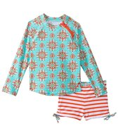 Cabana Life Girls' Maldives L/S Rashguard Short Set (5yrs-6X)