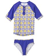 Cabana Life Girls' Sunburst 3/4 Sleeve Rashguard Set (2T-6yrs)