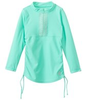 Cabana Life Girls' Embroidered Solid 3/4 Sleeve Rashguard (5yrs-6X)