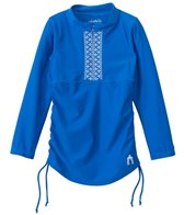 Cabana Life Girls' Embroidered Solid 3/4 Sleeve Rashguard (2T-6X)