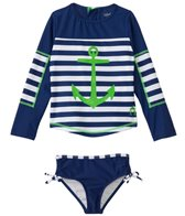 Cabana Life Girls' Cape Mod L/S Striped Rashguard Set (2T-4T)