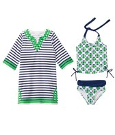 Cabana Life Girls' Cape Mod Two Piece Swimsuit and Terry Cover Up Set (2T-6yrs)