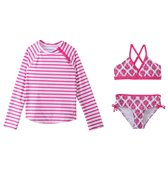 Cabana Life Girls' Pink Emblem Two Piece Swimsuit and Rashguard Set (7-14yrs)