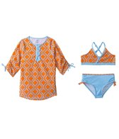 Cabana Life Girls' Summer Sky Two Piece Swimsuit and Rashguard Set (7-14yrs)
