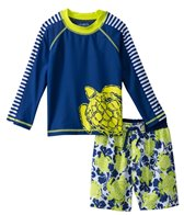 Cabana Life Boys' Turtle Swim Shorts and L/S Rashguard Set (2T-4T)