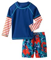Cabana Life Boys' Lobster Swim Shorts and L/S Rashguard Set (2T-4T)