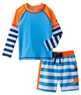 Cabana Life Boys' Swim Shorts and L/S Rashgard Set (2T-4T)