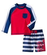 Cabana Life Boys' Octopus Swim Shorts and L/S Rashguard Set (2T-4T)