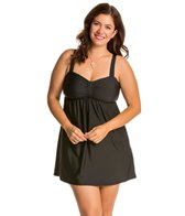 Athena Plus Size Cabana Solids Underwire Swim Dress