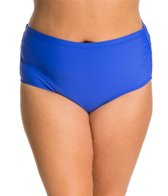 Athena Plus Size Cabana Solids Mid-Waist Shirred Side Bottom