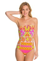 Trina Turk Woodblock Floral Bandeau Bikini Top One Piece