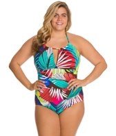 Anne Cole Plus Size Jungle Palm High Neck Shirred Keyhole One Piece