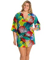 Anne Cole Plus Size Jungle Palm Mesh 3/4 Sleeve Cover Up Tunic