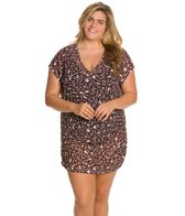 Anne Cole Plus Size Falling Leaves Mesh V-Neck Shirred Cover Up