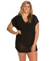 Anne Cole Plus Size Solids Mesh V-Neck Shirred Cover Up Tee