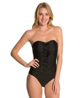 Ceeb Solid Bandeau Tufts One Piece Swimsuit