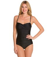 Ceeb Solid Twist Bandeau One Piece Swimsuit