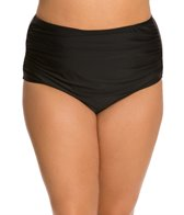 Ceeb Plus Size Solid Side Ruched Brief