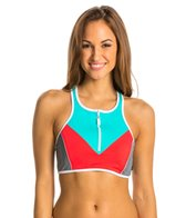 Nautica H2O Active Off the Blocks Zip Front Sport Bra