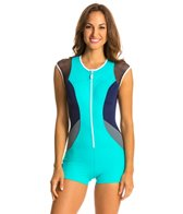 Nautica H2O Active Off the Blocks Zip One Piece Swimsuit