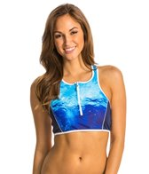 Nautica H2O Active Into the Blue Zip Front Sport Bra