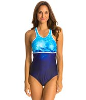 Nautica H2O Active Into the Blue Racer Back Soft Cup One Piece Swimsuit