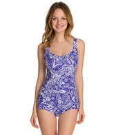 Maxine Patchwork Paisley Shirred Front Girl Leg One Piece Swimsuit
