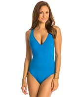 Kenneth Cole Strappy Hour Solid Plunge Mio One Piece Swimsuit