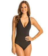 Kenneth Cole Strappy Hour Solid Plunge Mio One Piece