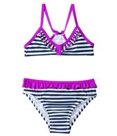 Jessica Simpson Girls' Embroidered Butterflies Stripe Triangle Ruffle Set (2T-4T)