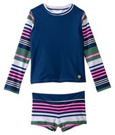 Jessica Simpson Girls' Stripes & Solids L/S Rashguard Boyshort Set (4yrs-6x)