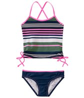 Jessica Simpson Girls' Stripes & Solids Tie Side Tankini Set (4yrs-6x)