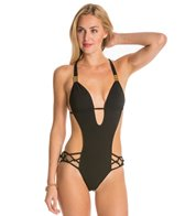 Sauvage Spider Macrame Plunge One Piece Swimsuit