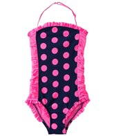 DKNY Girls' Round Up Dots Little Darling Bandeau One Piece (2T-4T)