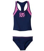 DKNY Girls' Mini Match Maker Tankini Two Piece Set (2T-4T)