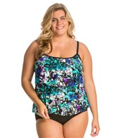 Maxine Plus Size Fauna Triple Tier Tankini Top