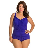Maxine Plus Size Solid Spa Shirred Front Girl Leg One Piece