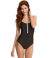 Nautica Signature Zip Front One Piece Swimsuit