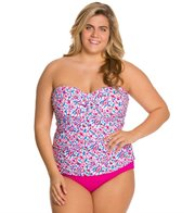 Sunsets Plus Size Surfside Shirred Bandeau Tankini Top (D/DD)
