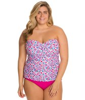 Sunsets Plus Size Surfside Shirred Bandeau Tankini Top (E/F)