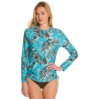 Sunsets Island Life L/S Side Shirred Swim Top